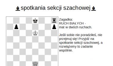 Sekcja szachowa SST Lubcza zaprasza nacykliczne spotkania.